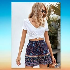 Summer Shorts Floral Jacquard Blue Pockets Boho
